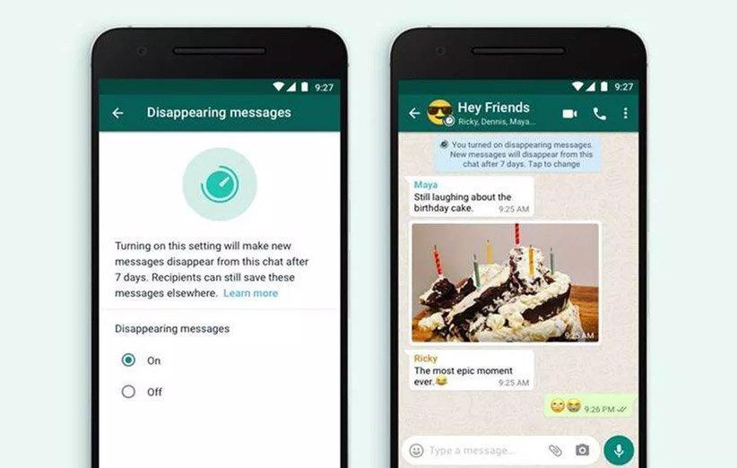 ارسال پیام های حذف شونده در واتساپ امکان پذیر شد